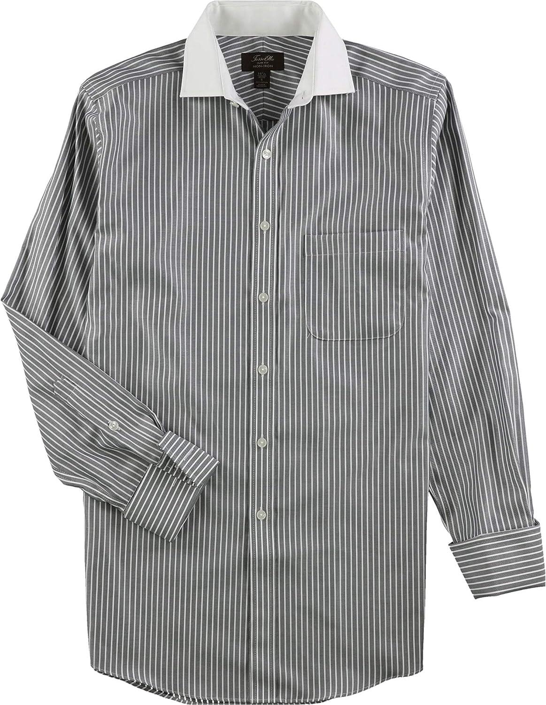 Tasso Elba Men's Regular Fit Twill Bar Stripe French Cuff Dress Shirt