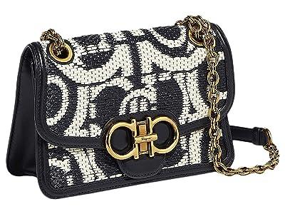 Salvatore Ferragamo Raffia Quilting Crossbody (Nero) Handbags