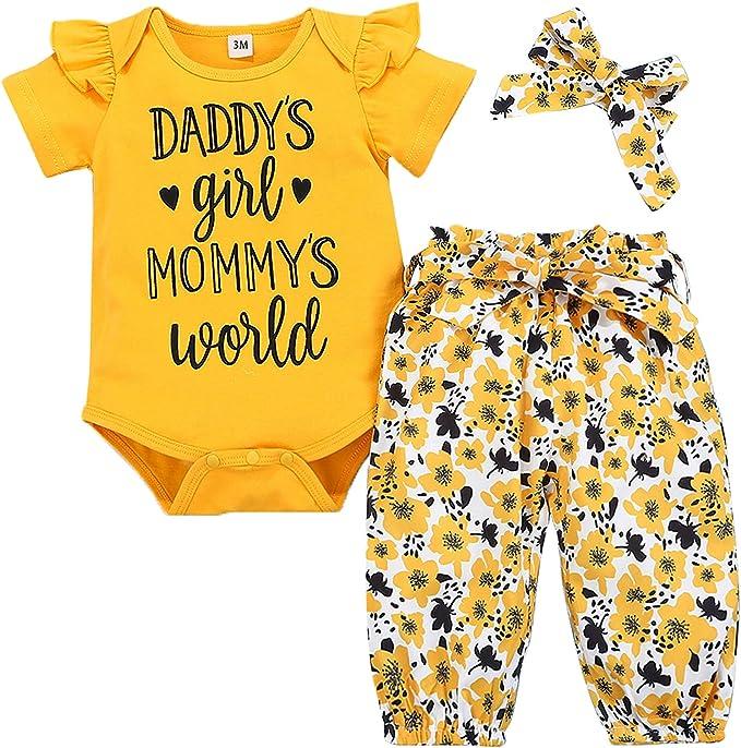 Baby 4pcs Set Outfits Toddler Cotton Bodysuit+Floral Pants with Belt+Headwear