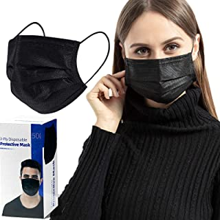 50 PCS Black Face Mask Disposable, Eventronic Elastic Ear Loops, 3 Layers Face Health for Adult, men & women
