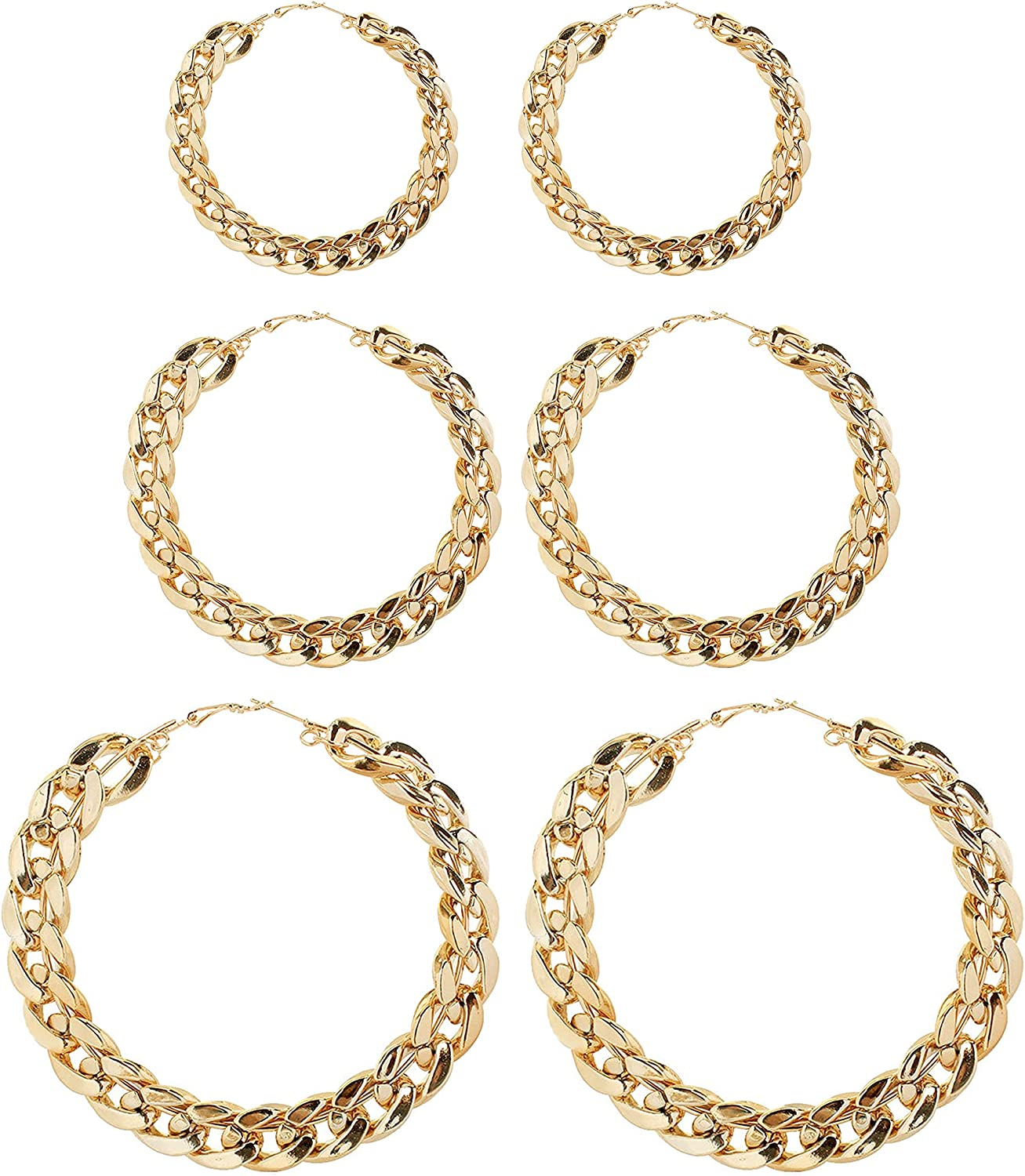 3 Pairs 60mm-80mm Large Gold Hoop Earrings Set Big Punk Circle Round Link Chain Shaped Earrings for Women Girls Chunky Jewelry