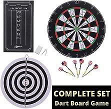 BETTERLINE Double-Sided Flocked Dart Board Set - Includes 6 Brass Darts and Cricket Scoreboard Kit - 45 Centimeter (18 Inch) Diameter Dartboard