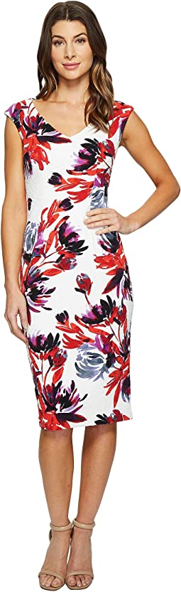 Maggy London - Firework Garden Blossom Texture Sheath Dress
