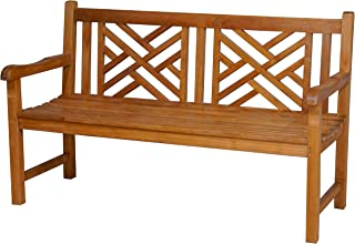 Teak Wood Chippendale Double Outdoor Patio Bench, Made from Solid A-Grade Teak Wood