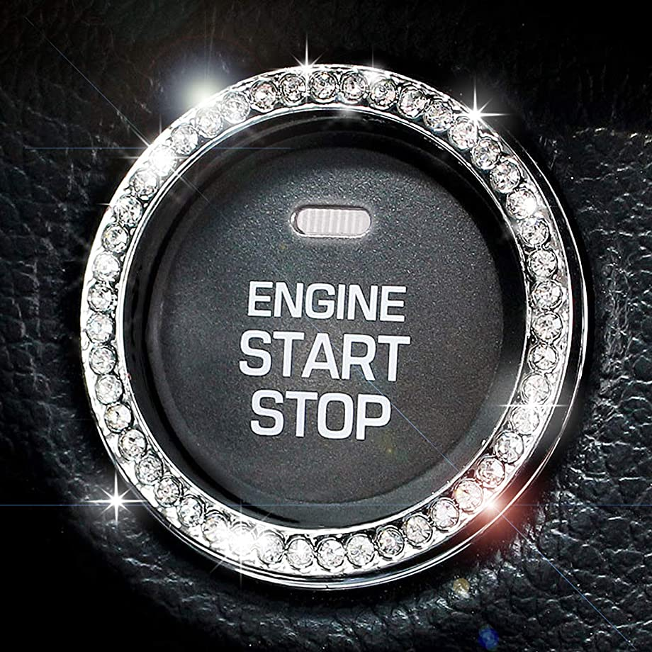 Chrystal Bling Ring Emblem Sticker- Zone Tech Rhinestone Start Engine- Ignition Button Car Key Knob-Interior Bling Push Button Auto- Decorative Decal Unique Silver Sparkly- Vehicle Rings Woman Car Acc