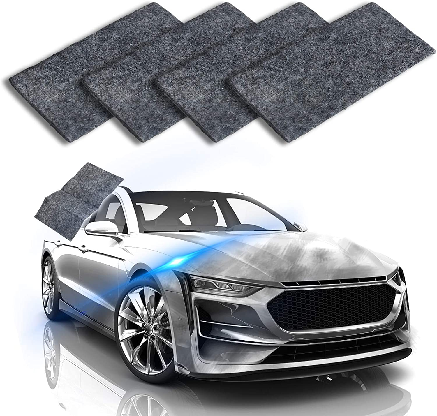 Black Polishing Surface Paint LIUMY 4Pcs Car Scratch Remover Cloth Strong Decontamination Nano Cloth For Cars Paint Repair Cloth Car Scratch Repair Kit for Repairing Minor Scratches