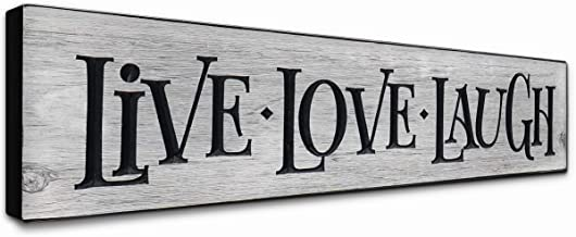 LACOFFIO Live Love Laugh Wall Decor 24x5.5 Rustic Gray Inspirational Quotes Art Plaque for Kitchen, Bedroom, and Laundry - Motivational Wooden Signs Handcrafted in The USA