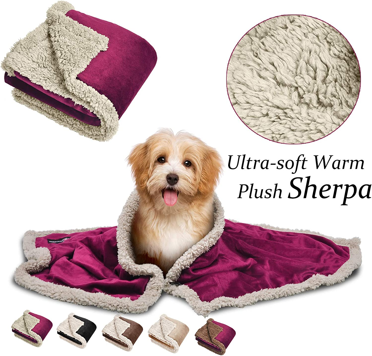 Pawsse Sherpa Puppy Blanket for Small Dogs Kitten, Warm Flannel Plush Pet Bed Blanket Reversible, 45 x30  Wine Tan