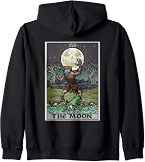 The Moon Tarot Card Gothic Halloween Werewolf Goth Witch Men Zip Hoodie