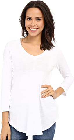 Slub Jersey 3/4 Sleeve V-Neck Tunic