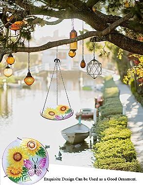 MUMTOP 11-inch Hanging Bird Bath for Outdoors Glass Bird Bath Bird Feeder for Garden Decoration (Bee and Flower Pattern)