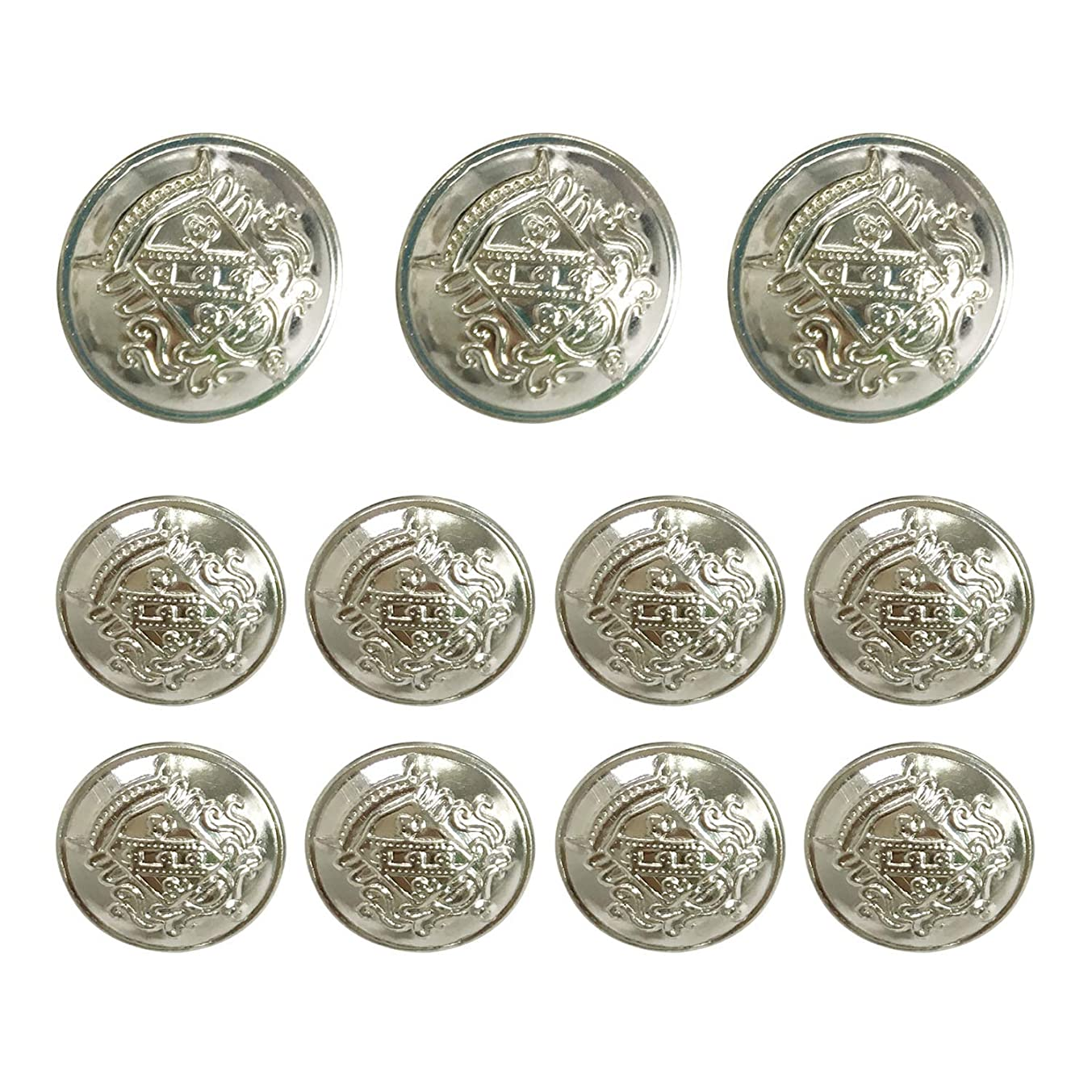Grekywin Vintage Metal Button Brass High-Grade Buttons for Jeans, Coat, Blazer, Suits, Jacket etc. Exotic Customs Style (Silver)