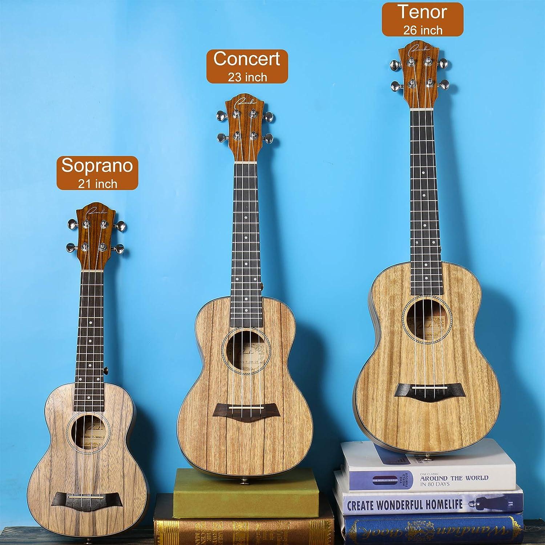 Ranch Soprano Ukulele 21 inch Professional Learn to Play Beginner ukelele with 12 Free Online Lessons ukalalee Starter Instrument Kit Ukele Bundle Gig bag/&Tuner/&Strap/&Aquila String Set Matte