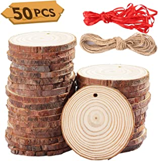 """G.C Natural Wood Slices 50 Pcs 2.4""""-2.8"""" Inches Unfinished Wood Round Kit with Pre-drilled Hole and 82 Feet Twine String for Art and DIY Crafts Christmas Ornaments"""