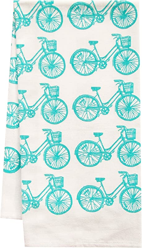 Artgoodies Blue Bike All Over Pattern Organic Block Print Tea Towel