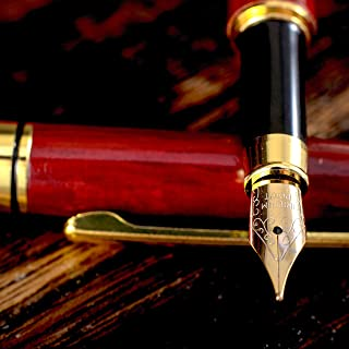 Gorgeous Red Fountain Pen made of Luxury Wood with Refillable Converter, Beautiful Case Set and Medium Nib Point. Works Smoothly with Disposable Ink Cartridges. Fine Calligraphy Pens. Modern Classic