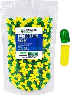 Capsules Express- Size 00 Green and Yellow Empty Gelatin Capsules - Kosher - Pure Gelatin Pill Capsule - DIY Powder Fillin...