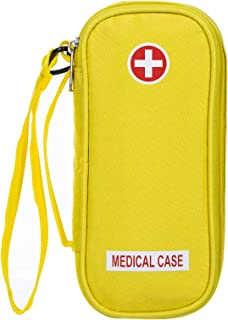 EpiPen Carrying Medical Case – Yellow Insulated Portable Bag with Zipper – for 2 EpiPen's, Auvi-Q, Asthma Inhaler, Small Ice Pack, Eye Drops, Allergy Medicine Essentials