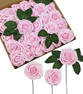 D-Seven Artificial Flowers 30PCS Real Looking Fake Roses with Stem for DIY Wedding Bouquets Centerpieces Party Baby Shower Home Decorations (Light Pink)