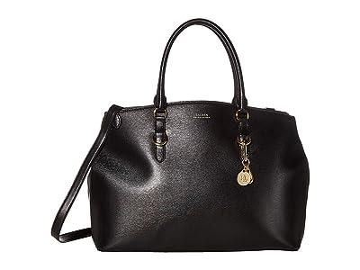 LAUREN Ralph Lauren Saffiano Double Zip Satchel Large (Black) Satchel Handbags