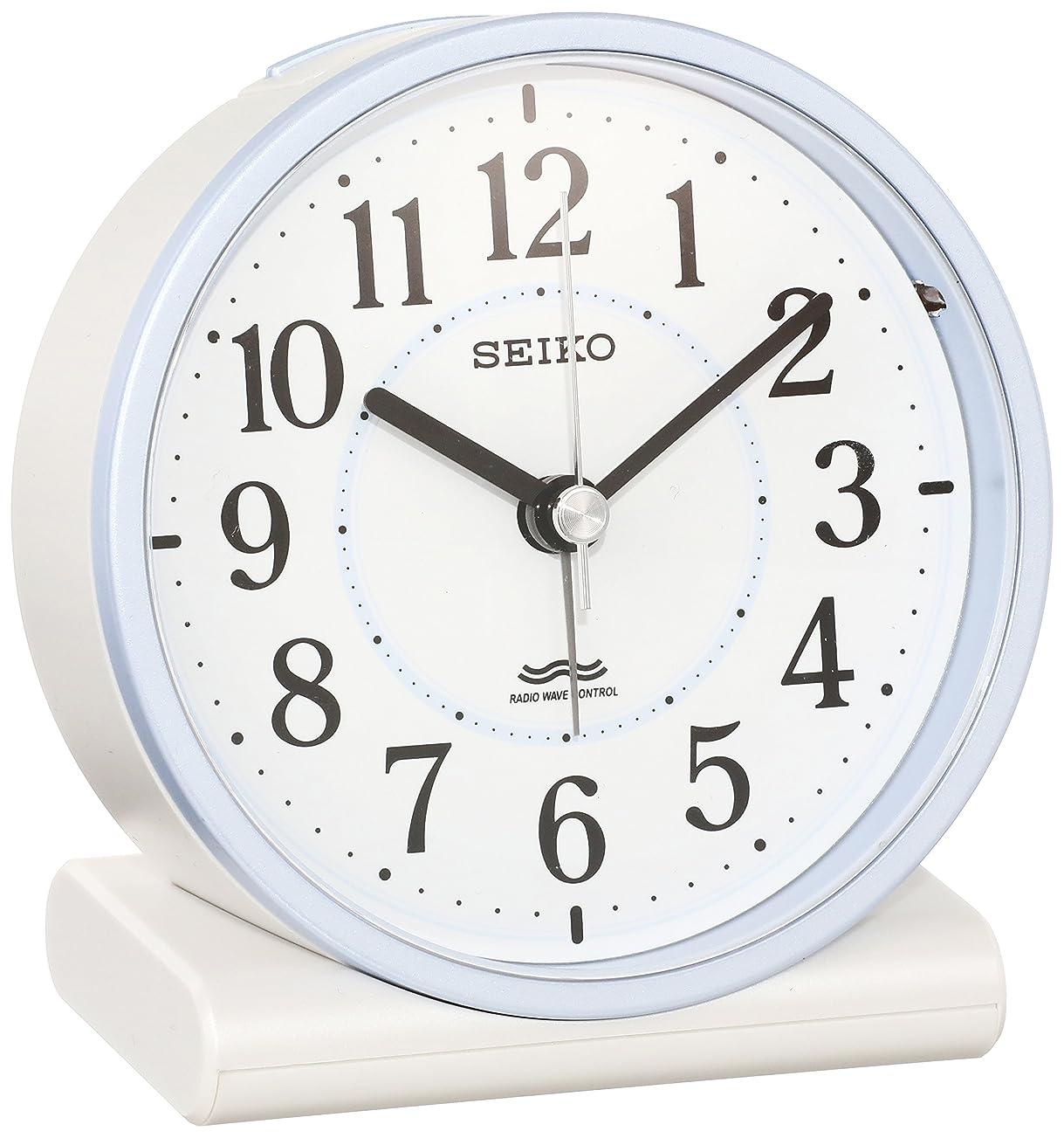マントルカウンタペリスコープセイコー クロック 目覚まし時計 電波 アナログ 薄青 パール KR328L SEIKO