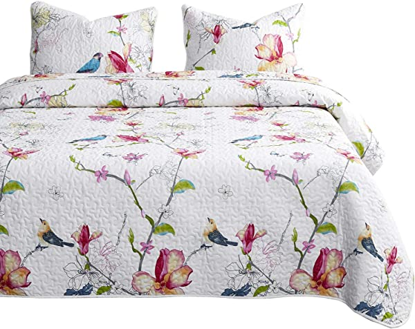 Wake In Cloud Floral Quilt Set Botanical Flowers And Birds Pattern Printed 100 Cotton Fabric With Soft Microfiber Inner Fill Bedspread Coverlet Bedding 3pcs Queen Size