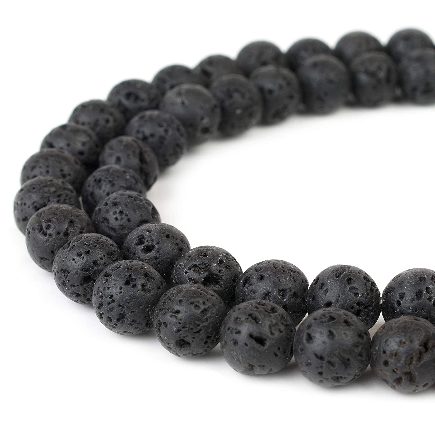 RVG 12mm Natural Black Lava Rock Beads Round Gemstone Volcanic Rock Gemstone Loose Stone Mala 15.5 in Strand For Jewelry Making (Approx 30-32 pcs)