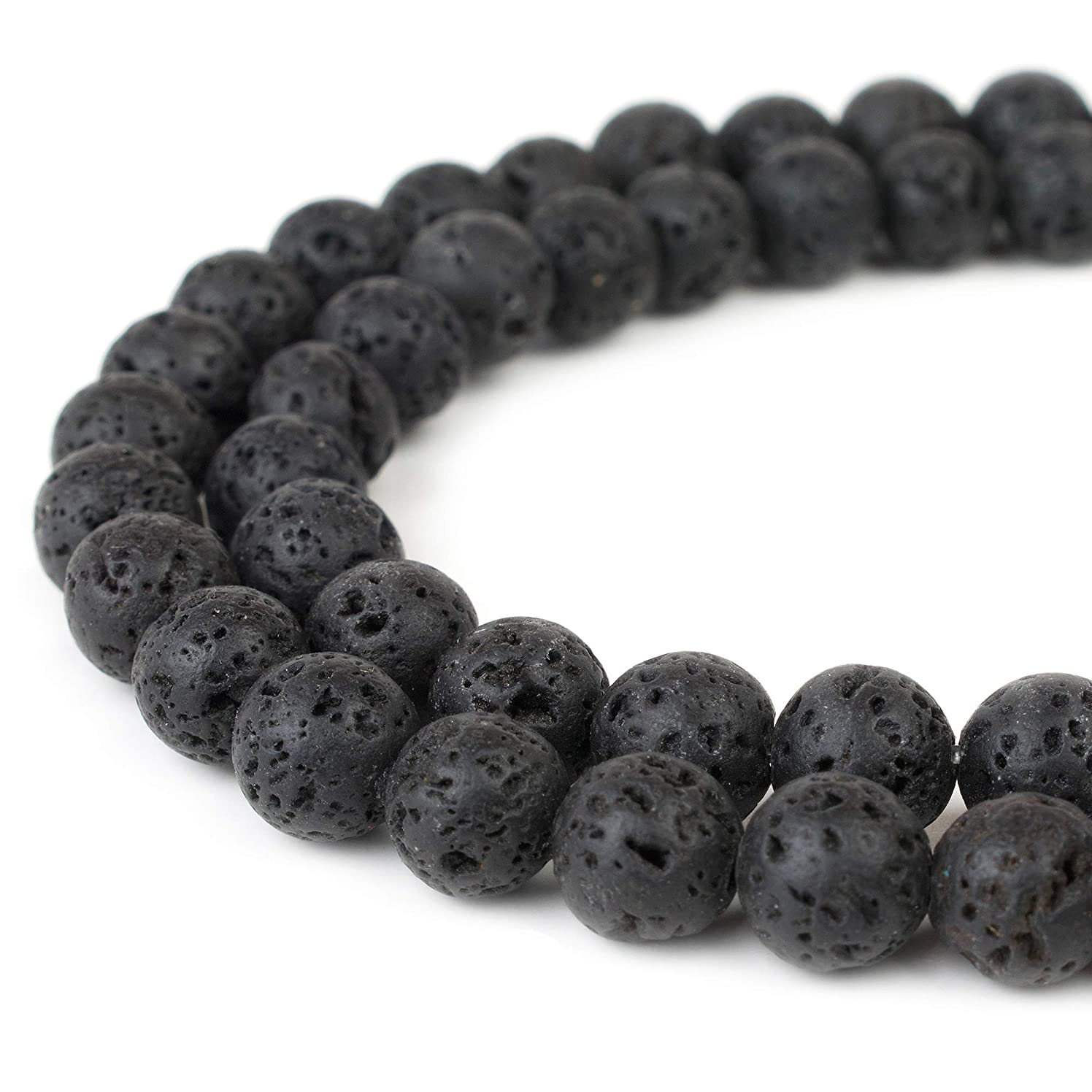 RVG 8mm Natural Black Lava Rock Beads Round Gemstone Volcanic Rock Gemstone Loose Stone Mala 15.5 in Strand For Jewelry Making (Approx 45-48 pcs)