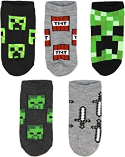 Minecraft Kids Classic Heros And Monsters 5PK No Show Socks