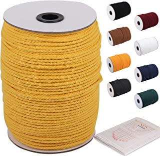Yellow Macrame Cord 3mm x 220yards, Colored Macrame Rope, Cotton Rope Macrame Yarn, Colorful Cotton Craft Cord for Wall Ha...