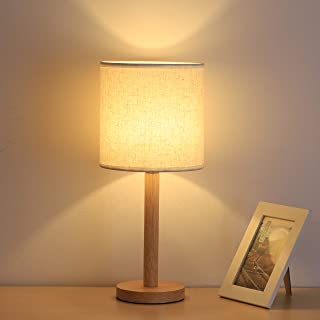 Bedside Table Lamp, Wooden Nightstand Lamp with Fabric Lampshade for Bedroom Living Room Dining Table Coffee Table Dresser Study Kids Room College Dorm