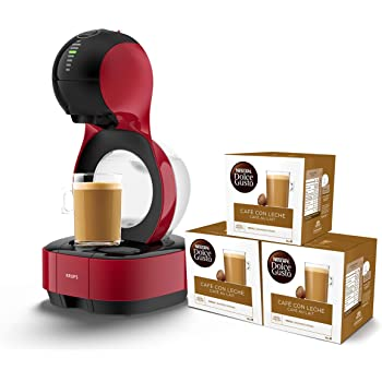 Pack Krups Dolce Gusto Lumio KP1305 - Cafetera de cápsulas, 15 bares de presión, color rojo + 3 packs de café Dolce Gusto Con Leche: Amazon.es: Hogar