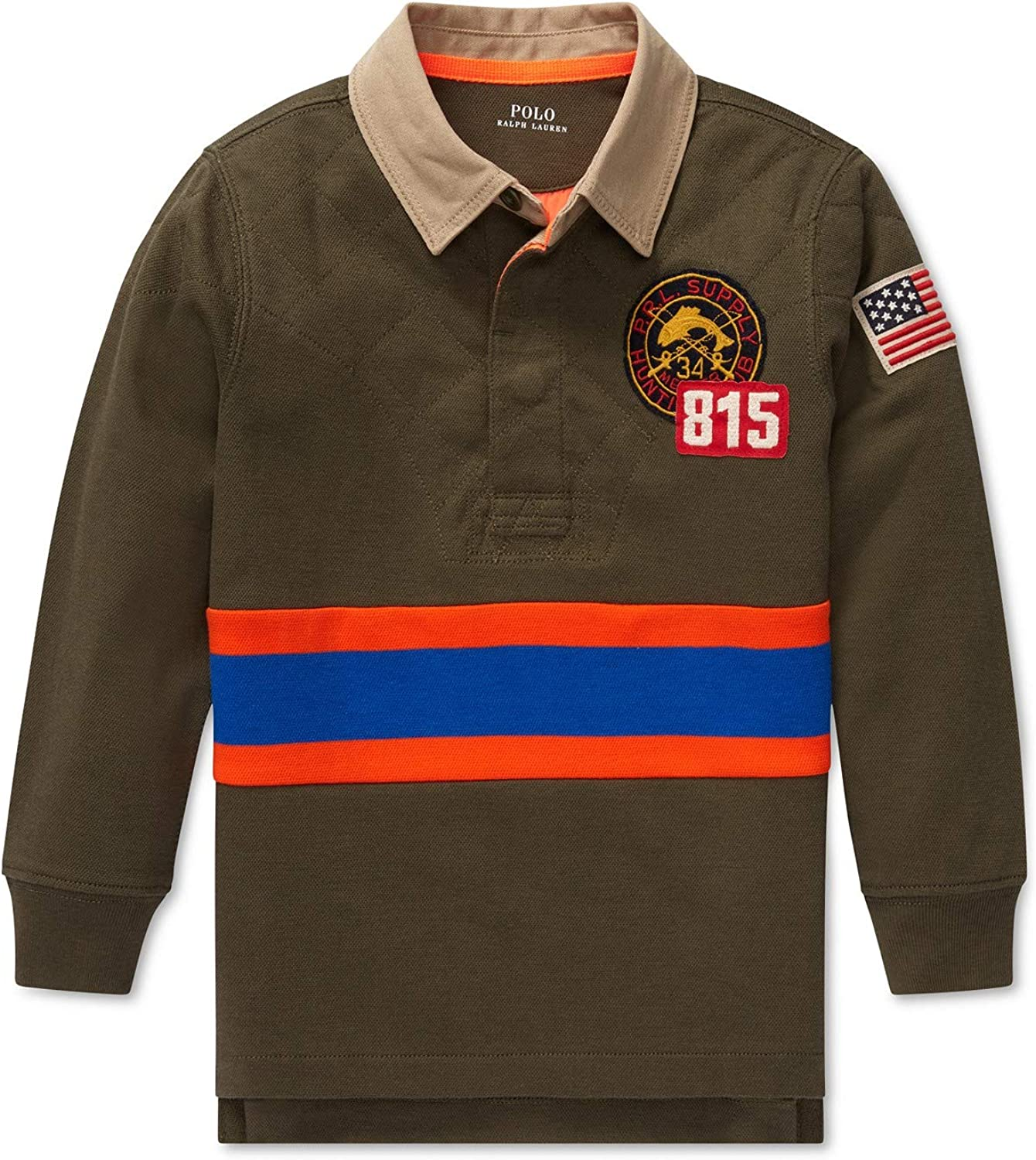 Lauren Polo Boys Long Sleeve Hunting Crested Patch Rugby Shirt 2 2T Olive