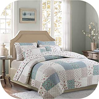 Comforter Sets Cotton Patchwork Quilt Set 3Pcs Floral Quilts Quilted Bedspread Bed Cover Sheets Pillowcase Coverlet King Size,200X230cm 3Pcs Set,The