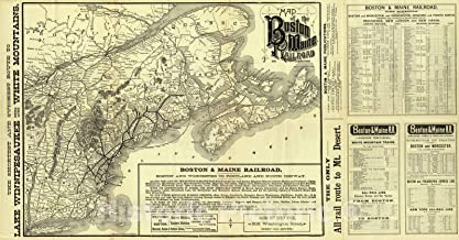 Historic Map - Timetable Map - 1888 Map Boston & Maine Railroad. - Vintage Wall Art - 84in x 44in