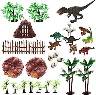 30 Piece Dinosaurs Toys Set - Plastic Dinosaurs Figures, Realistic Dinosaurs Trees & Rocks,Dinosaur Eggs and Nest,Kids Din...