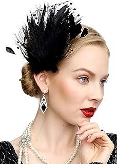 Fascinators 20s Gatsby Flapper Acessories Art Deco Party Accessory Peacock Feather Alligator Clip