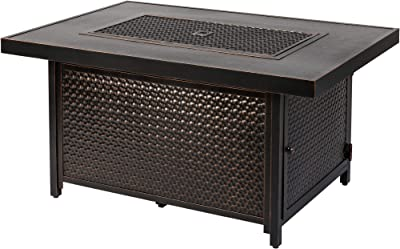 Fire Sense Weyland Rectangular Aluminum LPG Fire Pit Table | Hammered Antique Bronze Finish | 50,000 BTU Output | Uses 20 Pound Propane Tank | Fire Bowl Lid, Vinyl Weather Cover, and Clear Fire Glass