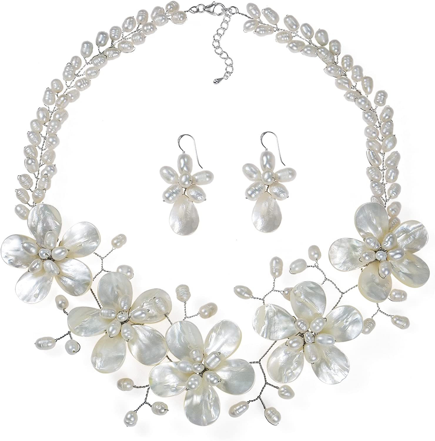 Latest item AeraVida Floral White Mother of At the price Pearl Whit Cultured Freshwater
