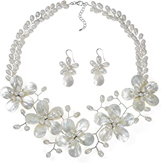 AeraVida Floral White Mother of Pearl & Cultured Freshwater White Pearl Fancy Jewelry Set