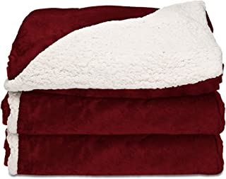 Sunbeam Heated Throw Blanket | Reversible Sherpa/Royal Mink, 3 Heat Settings, Garnet..