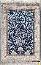 Yilong 3'x4.5' Handmade Persian Oriental Silk Rug Tapestry Tree of Life Vase Traditional Handwoven Carpet (3 Feet by 4.5 Feet, Navy Blue) 0038