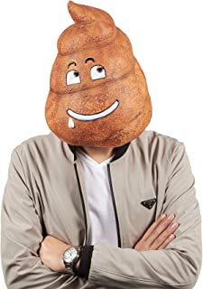 Poop Emoji Full Head Mask - Face Cover, Headwear for Costume, Themed Party and Halloween Party Supplies, Photo Booth Prop Brown