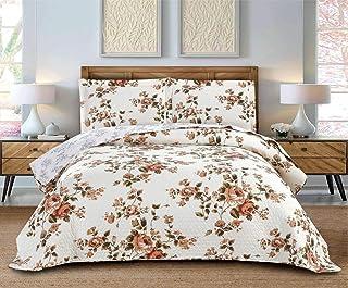 Floral Quilt Set King Size Rose Flower Bedding Set Orange Lightweight Bedspread Coverlet Soft Reversible All Season Bed Set,1 Quilt 2 Pillow Shames