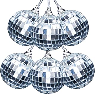 Ivenf 6 Pcs Mirror Ball 2 inch, 70's Disco Party Decoration, Christmas Tree Wedding Birthday Party Ornaments