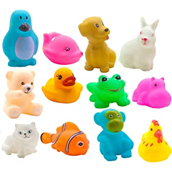 SaleOn12 Pcs Mix Cute Animals Swimming Water Toys Non-Toxic , BPA Free Colorful Soft Rubber Float Squeeze Sound Squeaky Bathing Toy for Baby Bath Toys Chu Chu Toy Set (1216)