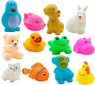 SaleOn Pack of 12 Pcs Mix Cute Animals Swimming Water Toys Non-Toxic,BPA Free Colorful Soft Rubber Float Squeeze Sound Squ...