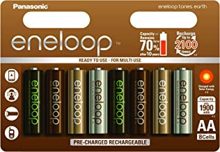 Panasonic Eneloop Bk-3Mcce/8Ue Ready-To-Use Ni-MH Batteria Aa 8Er Pack Earth
