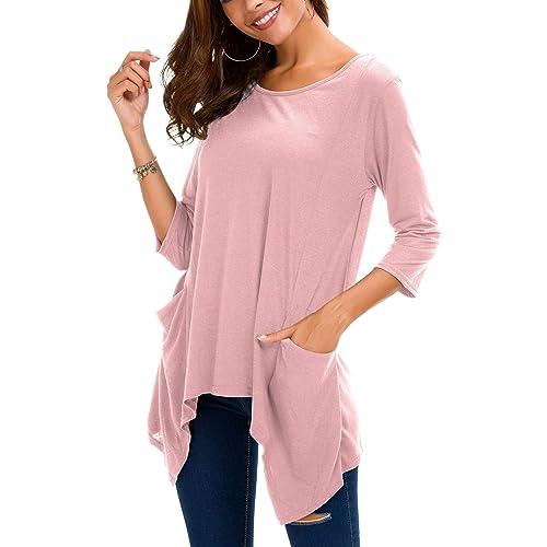80e423bc5ddf0 Urban CoCo Women s Plus Size 3 4 Sleeve Tunic Tops for Leggings Loose  Pocket Shirt