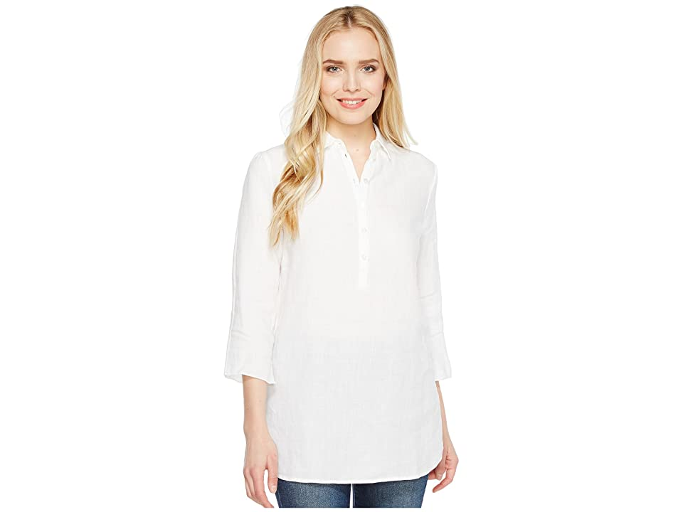 Three Dots Long Sleeve Tunic w/ Front Buttons (White) Women